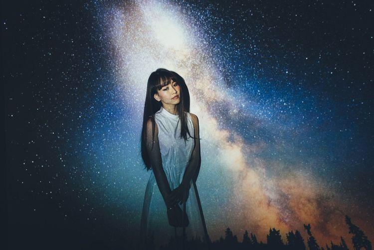 Imagination Astronomy Conceptual Explore Galaxy Lifestyles Night One Person Sky