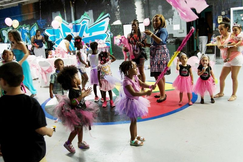 Full Length Dancing Large Group Of People Party Enjoying Life Indoors  Detroit Children Only Birthday