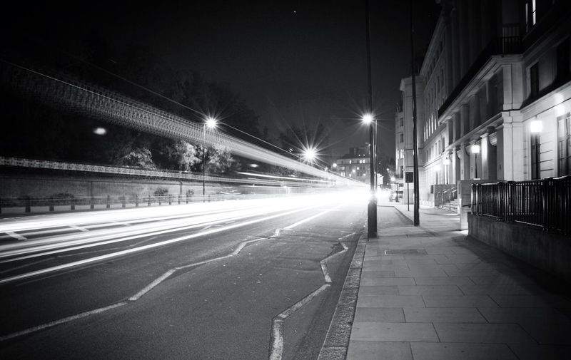 Light Trail On Road During Night