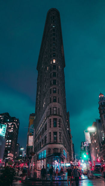 Flatiron Building Lights NY New Yokr New York City Travel Architecture Building Building Exterior Built Structure City Illuminated Low Angle View Night Street Travel Destinations Urban