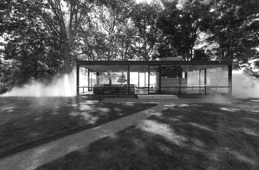 Philip Johnson's Glass House in New Canaan, Connecticut Absence Architecture Architecture Built Structure Day Empty Glass House Grass Growth Landscape Mid Century Architecture Mid Century Modern Modern Architecture Modernist Architecture Nature No People Outdoors Philip Johnson Sky Sunlight Tranquil Scene Tranquility Tree