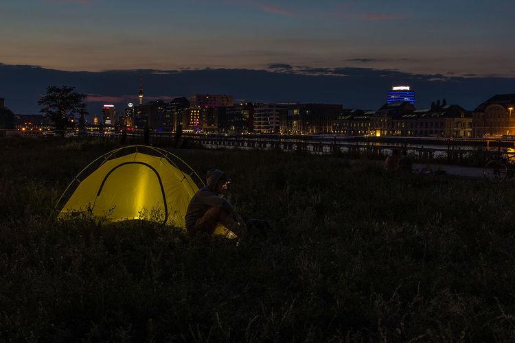 Camping microadventure in Berlin Kreuzberg. Camping Mediaspree Spree Adventure Adventures In The City Citylife Citylights Microadventure Outdoors Tent Urban Camping