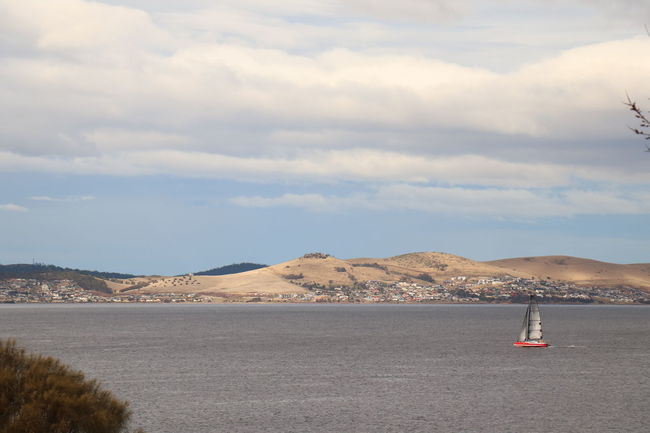 BARE. A view over one of the bays near Hobart, Tasmania, looking on the bare hills of the island. EyeEmNewHere Bare Hobart Sailing Ship Beauty In Nature Cloud - Sky Day Landscape Mountain Range Nature No People Outdoors Scenics Sky Tranquil Scene Tranquility Water