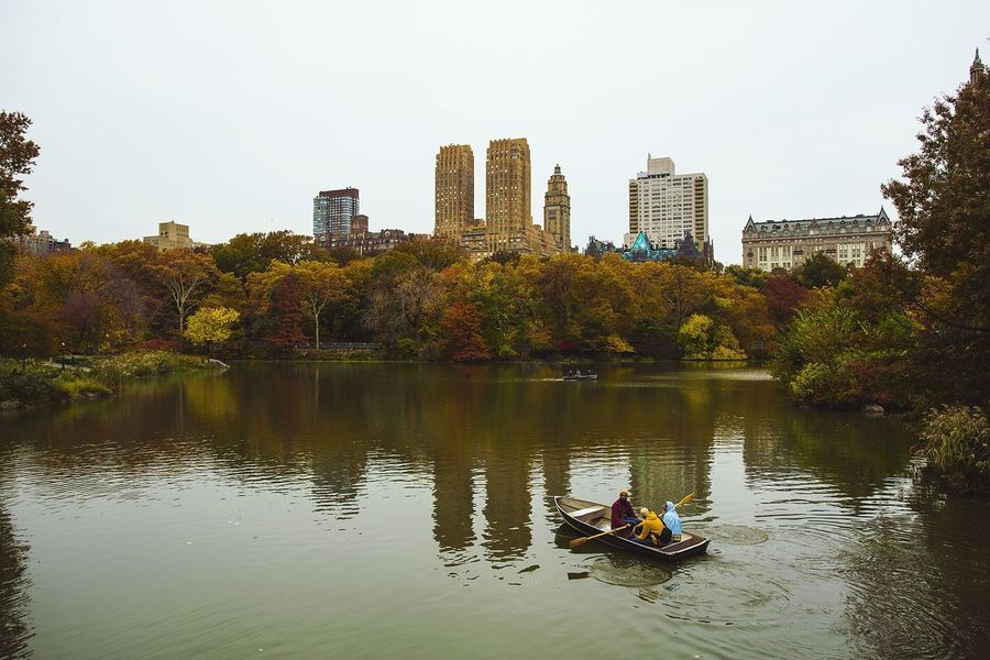 Central Park New York Park At The Park Lake Boat Urban Lifestyle
