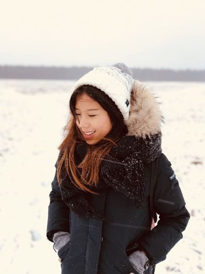 Pretty cold Superdry Woolrich Winter Cold Temperature Snow Warm Clothing Nature Outdoors Real People Weather Standing Scarf Lifestyles Jacket Young Women Shades Of Winter Love Yourself