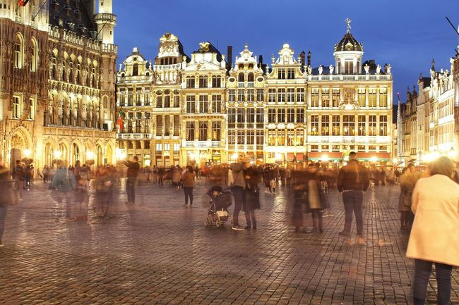 Belgium Brussels City Life Grand Place Bruxelles Light Sightseeing Adult Architecture Blurred Motion Building Exterior Built Structure City City Lights Crowd Evening Scene Illuminated Illumination Large Group Of People Night Night View Outdoors People Tourist Destination Town Square Travel Destinations