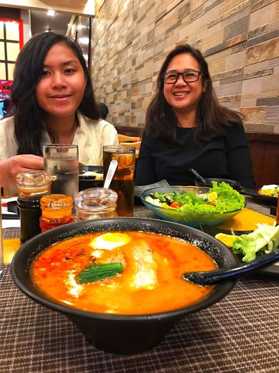 Happy Ramen Food And Drink Restaurant Smiling Business Two People Food Women Happiness Real People