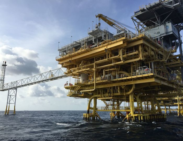 View Of Offshore Platform At Sea Against Sky