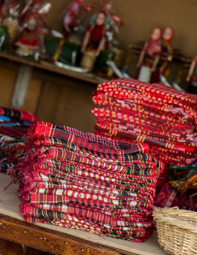 Close-up of red basket for sale in market
