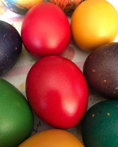 Multi Colored Egg Food Still Life Food And Drink Easter Easter Egg Celebration Indoors  Holiday No People Close-up Red High Angle View Table Variation Temptation