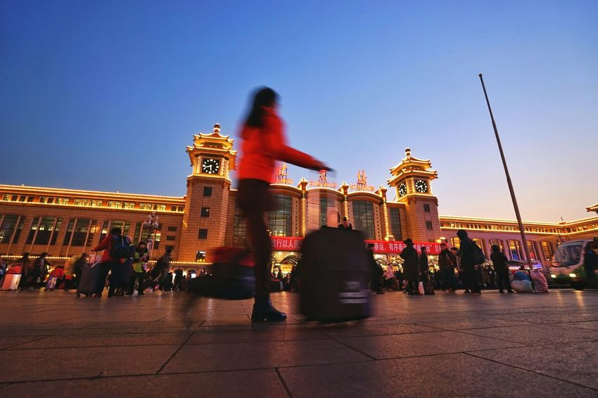 Travel Destinations Travel City Night People Outdoors Spring Festival Beijing, China BEIJING北京CHINA中国BEAUTY Beijing Street Photography Streetphotography Gohome Train Station Cold Winter Holiday