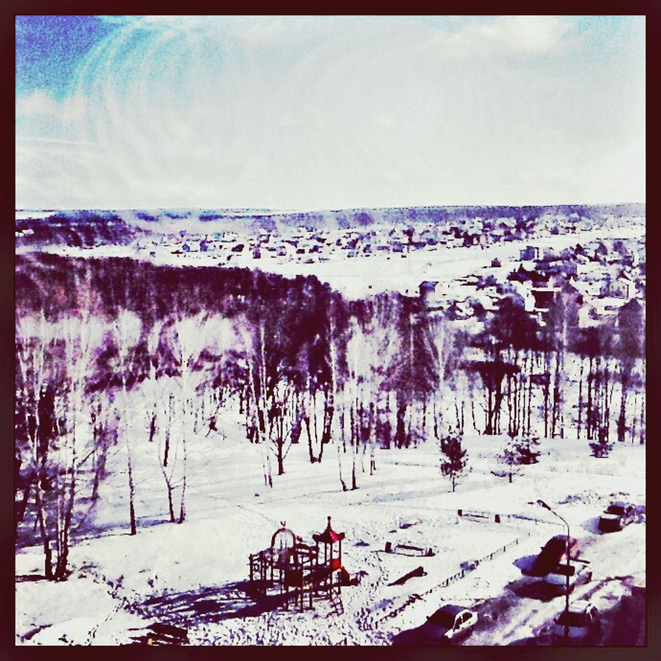 transfer print, auto post production filter, snow, winter, cold temperature, season, nature, weather, tranquil scene, sky, tranquility, beauty in nature, scenics, water, landscape, day, panoramic, outdoors, covering, tree