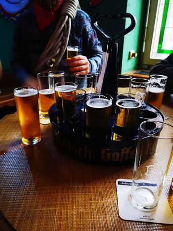 Kölsch non stop... Alaaaaaf Eyeem Best Of The Day Happiness Togetherness Carneval 11.11.18 Cologne 11.11.18 Human Hand Happy Hour Alcohol Drink Cold Temperature Drinking Glass Bar - Drink Establishment Men Bar Counter Beer Glass
