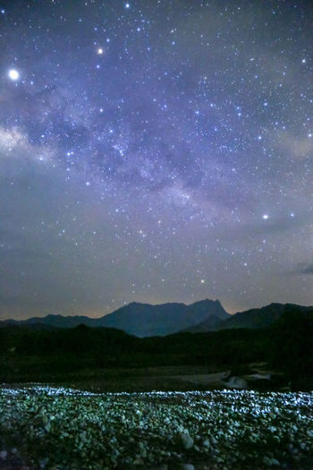 Scenics - Nature Sky Beauty In Nature Tranquility Tranquil Scene Nature Night Landscape Mountain Environment No People Star - Space Space Outdoors Idyllic Astronomy Star Water Land Non-urban Scene
