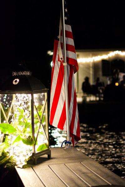 Portrait Of America Flag Night Lights American Flag
