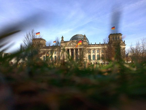 Berlin Architecture Built Structure Building Exterior History Focus On Background Sky Travel Destinations Berlin Outdoors Day IPhoneography Grass Clouds Reichstag
