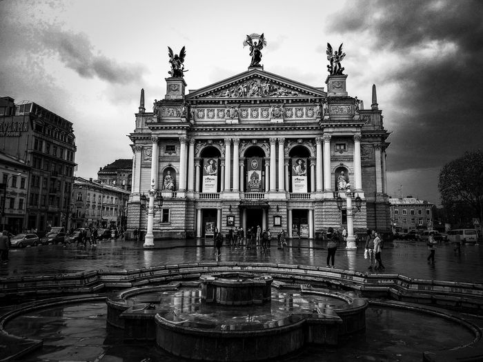 Lviv Opera Fountain Architecture City Building Exterior No People Day Fountain Architecture City Water Travel Sky Building Exterior Built Structure Sculpture No People Outdoors Day