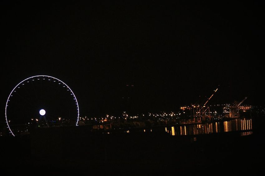 Reflections In The Water cityscapes Lights In The Dark OceanCity Faris Wheel Seattle Night Outdoors