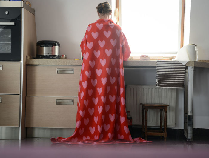 A fairy in the kitchen :) Backside Portrait Dramatic Angles Hearts Interior Photography Levitation Natural Light Red Surrealism