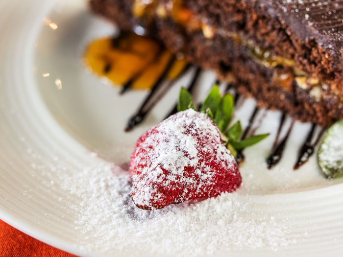 Close-up of sachertorte served in plate