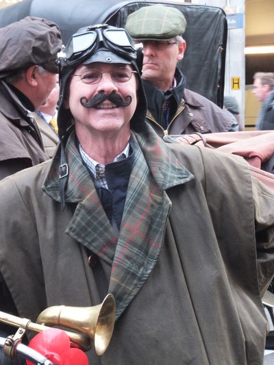 London to Brighton Vintage Car Rally Contestant Casual Clothing Composition Confidence  Conteastant Driving Goggles Fashion Front View GB Happiness London Looking At Camera Man Moustache Occupation Person Portrait Rally Real People Smiling Standing Uk Waist Up