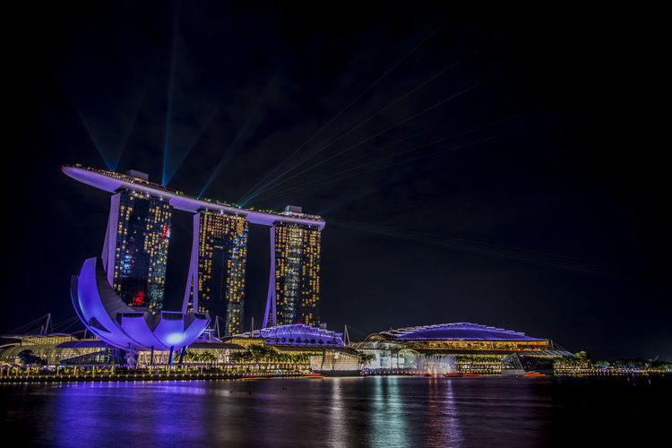 Illuminated Marina Bay At Night