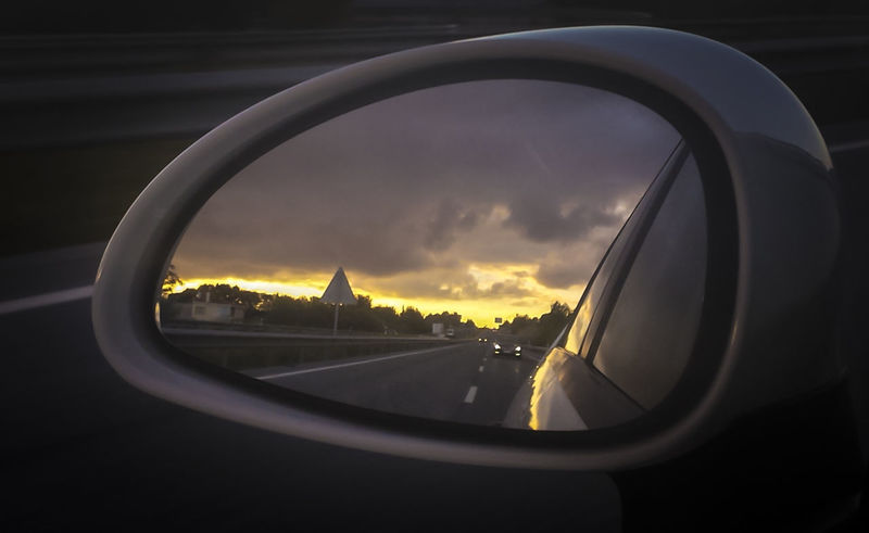 Car Close-up Cloud Cloud - Sky Focus On Foreground Land Vehicle Mode Of Transport Reflection Road Side-view Mirror Sky Sunset Transportation Vehicle