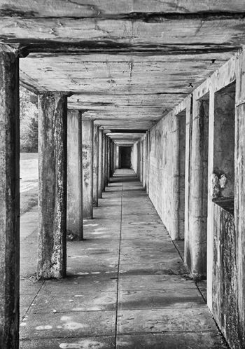 Battery Russell Walkway at Fort Stevens State Park Architectural Column Barracks Blackandwhite Diminishing Perspective Fort Stevens Fortress Long Oregon Coast Repetition Turret Walkway Ww2 WWII