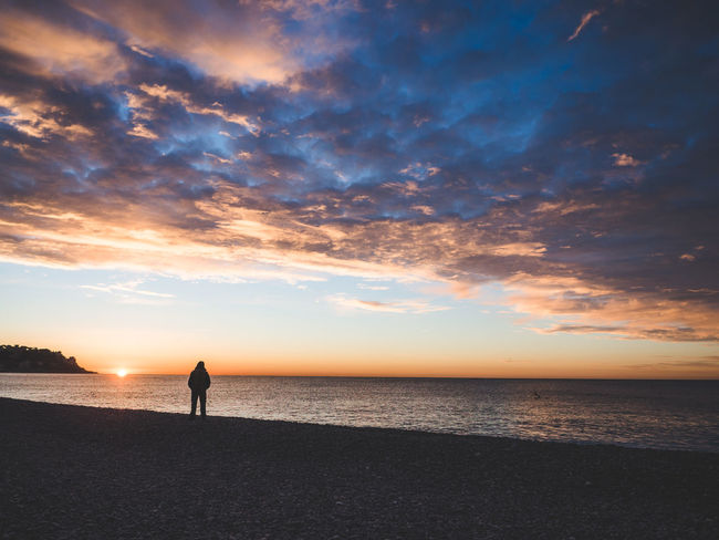 Beach Beauty In Nature Calm Cloud Côte D'Azur Escapism France Full Length Horizon Over Water Idyllic Men Nature Relaxation Remote Scenics Sea Shore Silhouette Sky Solitude Standing Sunset Tranquil Scene Tranquility Water