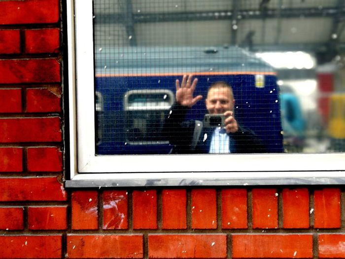 Liverpool Lime Street Station Me Water Waving Reflection Red Technology Window Smiling Looking Through Window Close-up