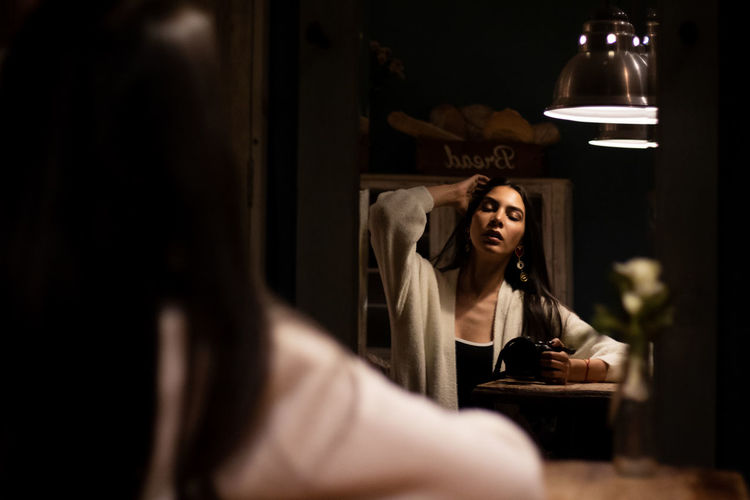 Marcela Young Women Bedroom Domestic Room Women Home Interior Basement Pleading Beggar Forgiveness Mirror Depression - Sadness Run-down Abandoned Deterioration Relationship Difficulties Grief God Horror