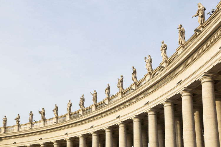 Marble sculptures of the popes of st. peter's square in rome