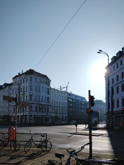 Morning Glory Cityscape Street Berliner Ansichten Berlin Light Copy Space Sunrise Rosenthaler Platz Commuting Building Exterior Architecture Built Structure City Sky Outdoors Cityscape No People Day Mobility In Mega Cities