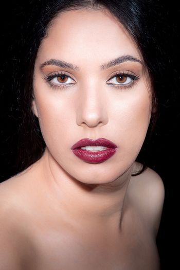 Beauty Cosmetics Makeup Closeup Young Women Black Background
