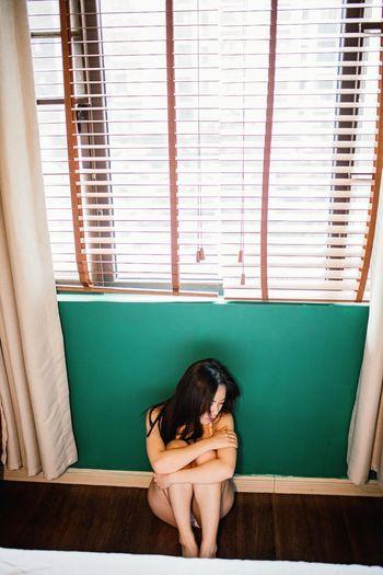 私房 Window One Person Barefoot Sitting Curtain People Day Childhood Child Indoors  Adult Full Length Only Women Lifestyles Radiator Human Body Part