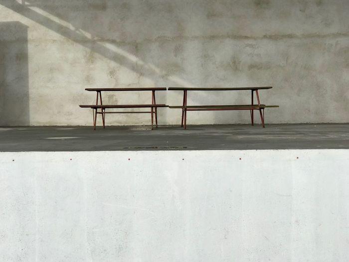 Railing against wall
