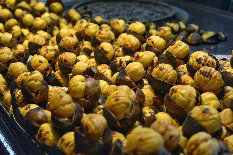 Close-up of fresh roasted chestnuts