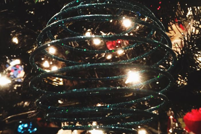 Christmas Tree Decor and Lights Illuminated Lighting Equipment Christmas No People Night Shiny Close-up Christmas Decoration Indoors  Christmas Ornament