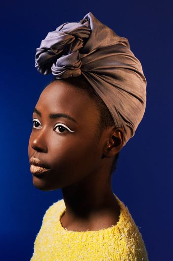 Studio Shot Headshot Portrait Fashion Beautiful Woman Fashion Model Kenya Africa Africanwoman African Beauty Deepblue