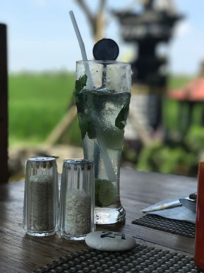 Table Focus On Foreground No People Close-up Drink Day Outdoors Freshness Sunny Bali, Indonesia Mojito! Warung