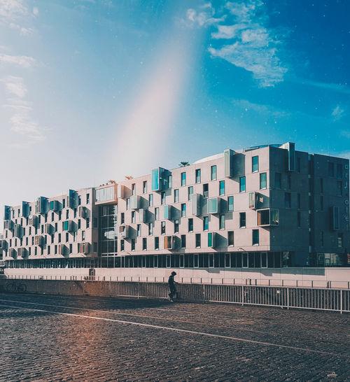 Köln street, big building, street, beautiful blue sky