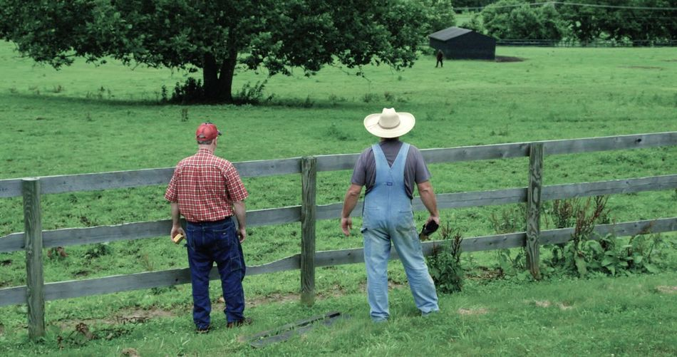 Farmers Life picket fence amish Full Length Two People Agriculture Outdoors Rear View Standing Green Color Tree Real People Growth Rural Scene Day Grass Occupation Working Senior Men Nature Adult People Adults Only