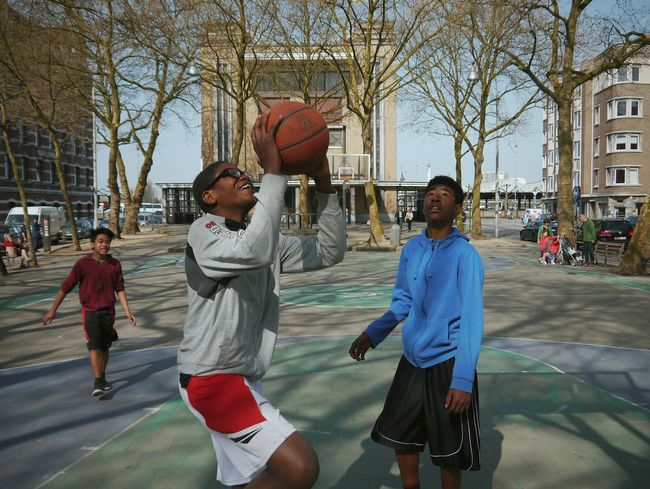 Basketball - Sport Sport Basketball Player Basketball Hoop Court Leisure Activity Full Length Small Group Of People Ball People Playing Outdoors Young Adult Athlete Sports Venue Team Sport Adult Day Live For The Story The Street Photographer - 2017 EyeEm Awards