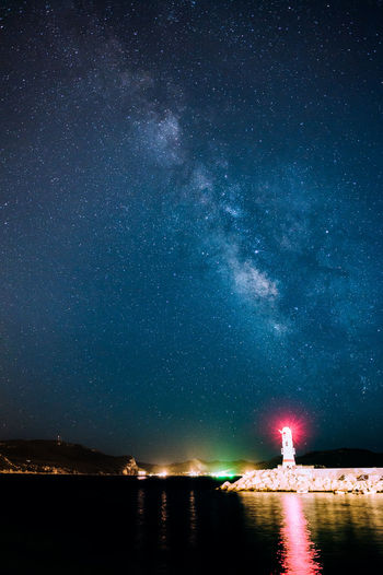 The Lighthouse in Kaş & the Milky Way Harbour Kas Leading The Way Lighthouse Night Lights Astronomy Beauty In Nature Building Exterior Constellation Direction Galaxy Illuminated Milky Way Nature Night Outdoors Reflection Scenics Seascape Seaside Sky Star - Space Stars Starscape Water The Week On EyeEm
