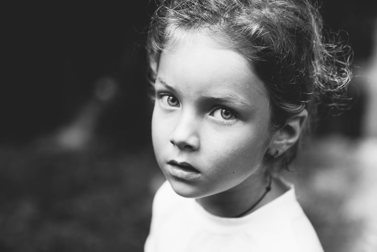Beautiful Girl Beautiful Child Black And White Child Child In Nature Childhood Children Only Close-up Day Elementary Age Focus On Foreground Girl In Nature Headshot Lifestyles Looking At Camera One Person Outdoors People Portrait Real People