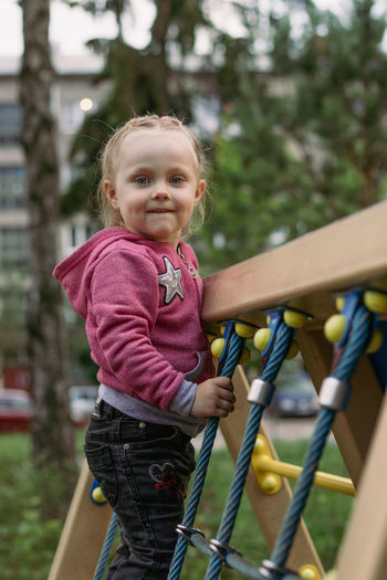 Portrait of cute girl in playground