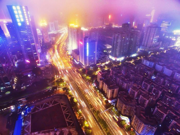 Building Long Exposure Dji Guangzhou China Fog Night Lights Night Aerial Shot Beautiful Day Check This Out