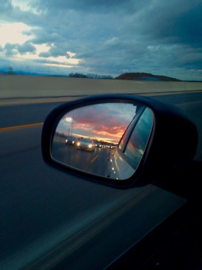 Look forward... Car Travel Mirror Sky Road Highway