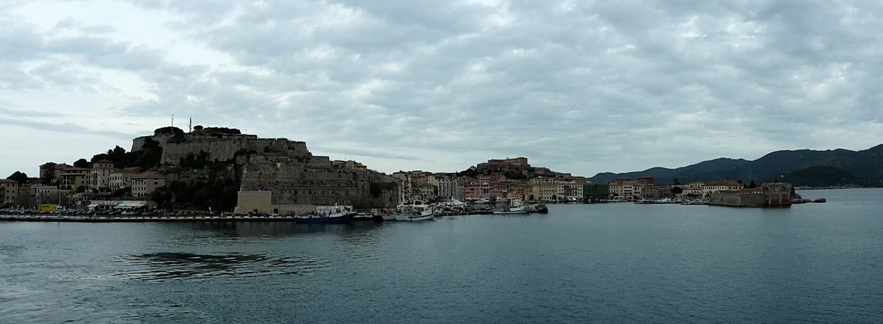 Landscapes With WhiteWall Panoramic View Portoferraio Forte Stella 1548 Tuscany Sky And Clouds Sea View Seascape Ferry Views
