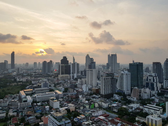 Bangkok Bangkok Thailand. Architecture Building Building Exterior Built Structure City Cityscape Cloud - Sky Crowd Crowded Financial District  Modern Nature Office Office Building Exterior Orange Color Outdoors Residential District Settlement Sky Skyscraper Sunset Tall - High Urban Skyline